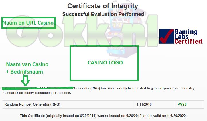 casino certificaat rng